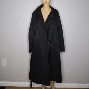 Black DKNY Double Breasted Trench Coat Size M